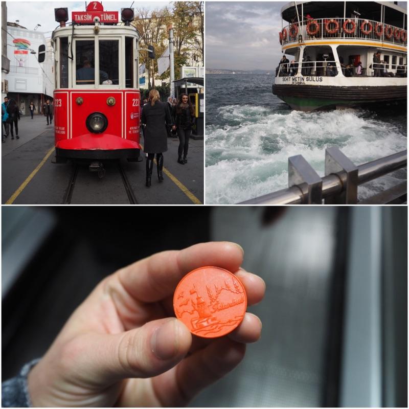 1. Historická tramvaj. Ty ostatní jsou mnohem modernější. 2. Loď na asijskou část Istanbulu. 3. Žeton na cestování MHD.